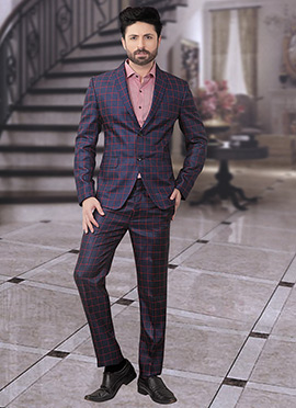 Navy Blue Terry Rayon Lapel Suit