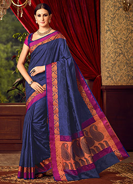 Navy Blue Uppada Art Silk Saree
