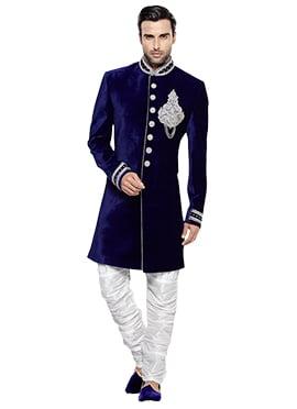 Navy Blue Velvet Breeches Style Sherwani
