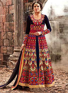 Navy Blue Velvet Center Slit Anarkali Suit