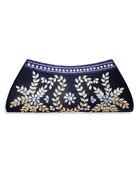 Navy Blue Velvet Clutch