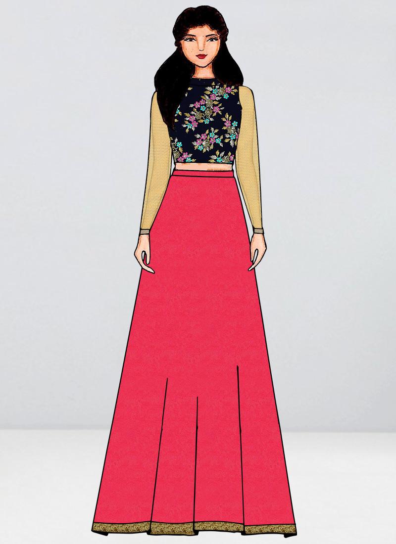 Shop Navy Blue Velvet Embroidered Blouse N Skirt Set Made To Measure Dress For Women In All Sizes Iwbs01912914