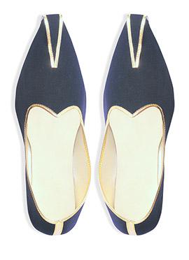 Navy Blue Velvet Mojris
