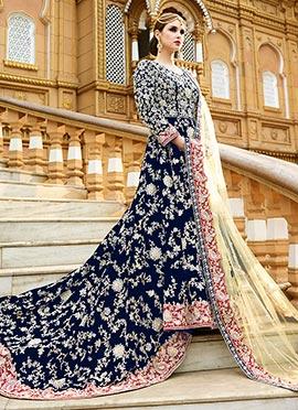 Navy Blue Velvet Trial Style Gown
