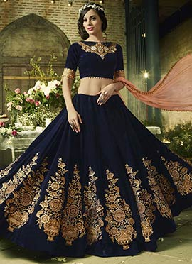 Navy Blue Velvet Umbrella Lehenga