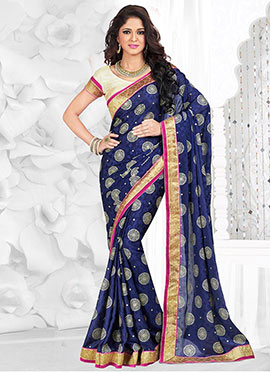 Navy Blue Viscose Jacquard Saree