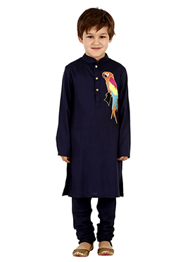 Navy Blue Viscose Kids Kurta Pyjama