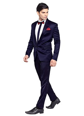 Navy Blue Viscose Lapel Style Suit