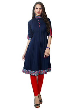 Navy Blue Viscose Tunic