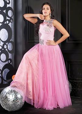Neha Dhupia Pink Net Flared Gown