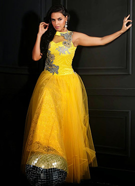 Neha Dhupia Yellow Net Flared Gown