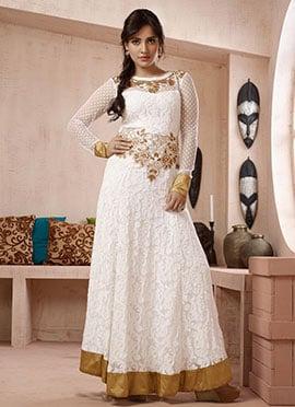 Neha Sharma White Anarkali Suit