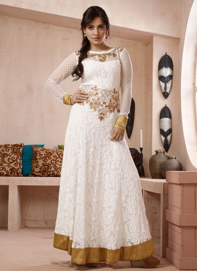 Buy Neha Sharma White Anarkali Suit, Embroidered, anarkali