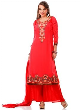 Neon Coral Pink Georgette Plus Size Kurti