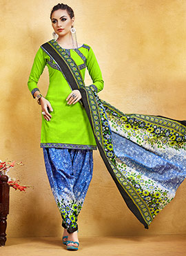 Neon Green Blended Cotton Salwar Suit