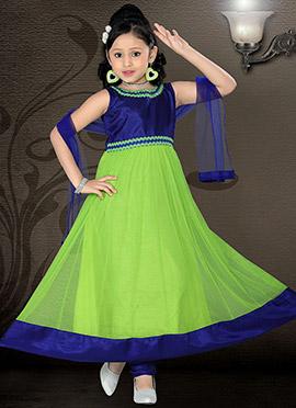 Neon Green Net Ankle Length Teens Anarkali Suit