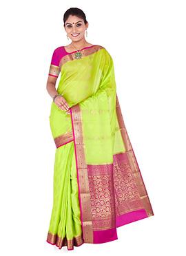 Neon Green Pure Crepe Silk Saree