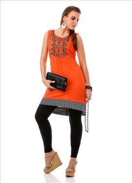 Neon Orange Cotton Kurti