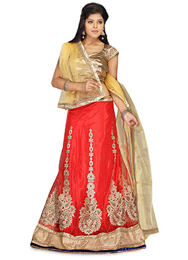 Net Embroidered Red A Line Lehenga Choli