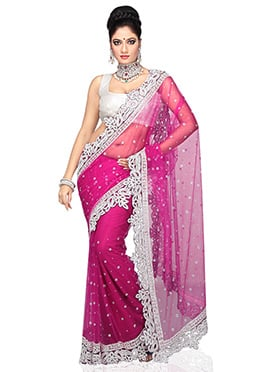 Net Magenta Embellished Saree