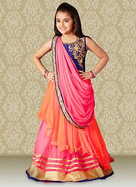 Net N Art Silk Draped Teens Gown