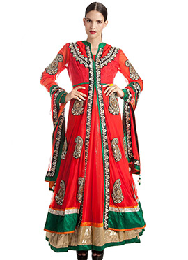 Net Red Layered Anarkali Suit
