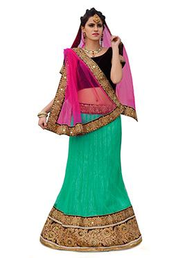 Net Turquoise Green A Line Lehenga Choli