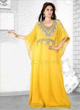 Nice Yellow Georgette Farasha Fustan