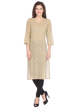 Nika Beige Blended Cotton Kurti