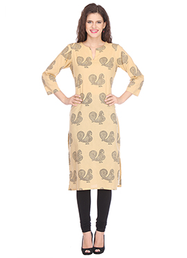 Nika Beige N Black Cotton Block Printed Kurti