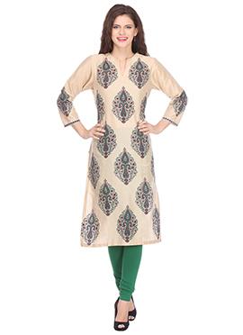 Nika Beige Silk Cotton Block Printed kurti
