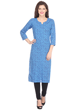 Nika Blue Blended Cotton Kurti