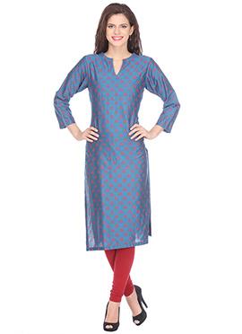 Nika Bondi Blue Silk Cotton Block Printed kurti
