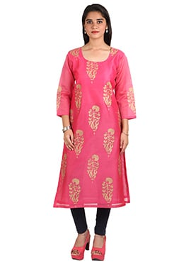 Nika Dark Pink Block Printed Long Kurti