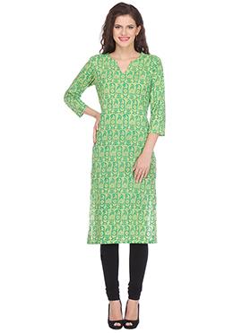 Nika Green Blended Cotton Kurti