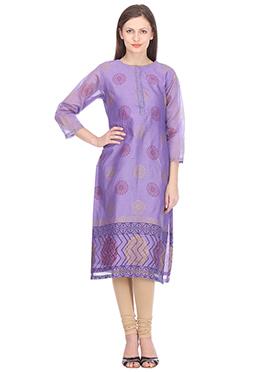 Nika Lavender Chanderi Block Printed Kurti