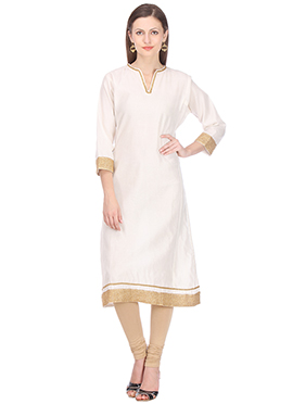 Nika Off White Chanderi Kurti