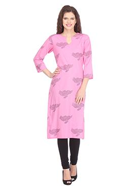 Nika Pink N Black Cotton Block Printed Kurti