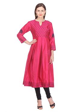 Nika Pink Silk Cotton Anarkali Kurti