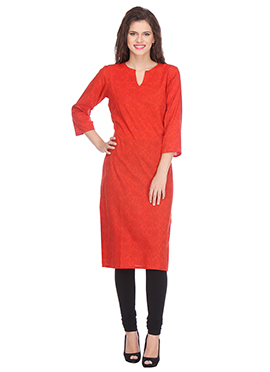 Nika Red Blended Cotton Kurti