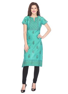 Nika Turquoise Chanderi Art Silk Kurti