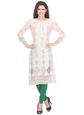 Nika White Chanderi Block Printed Kurti