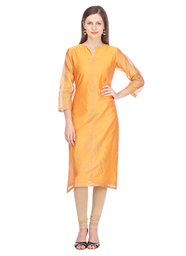 Nika Yellow Chanderi Art Silk Kurti