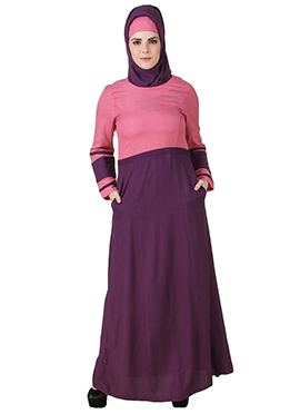 Noreen Pink N Purple Rayon Abaya