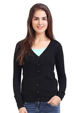 Nylon N Viscose Black Cardigan
