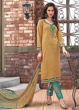 Ochre Blended Cotton Straight Pant Suit