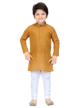Ochre Blended Cotton Teens Kurta Pyjama
