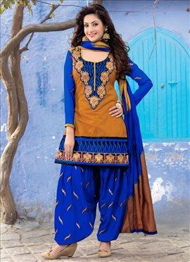 Ochre Chanderi Silk Cotton Patiala Suit