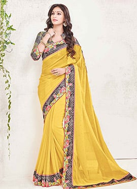 Ochre Georgette Border Saree