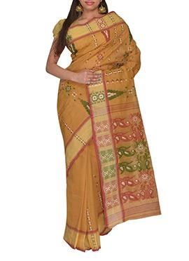 Ochre Hand Woven Bengal Cotton Saree
